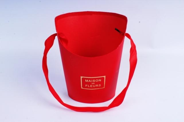 Кашпо Овал с косым срезом малое красное  К210