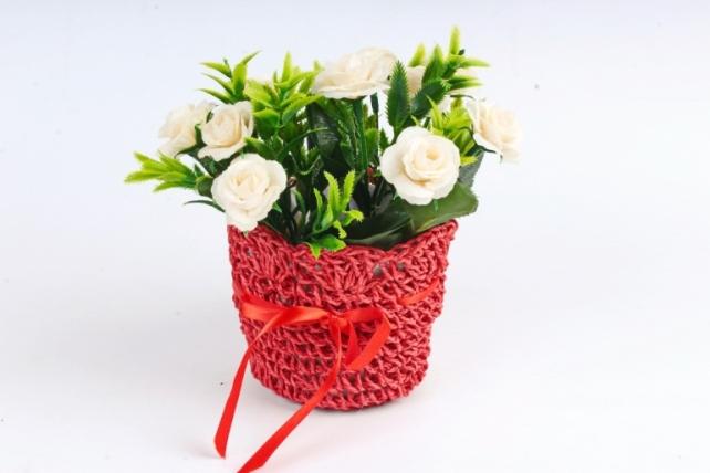 Кашпо плетеное Красное  WH13-352 MIX