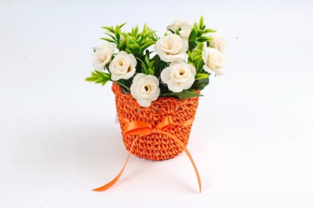 Кашпо плетеное  Оранжевое  WH13-352 MIX