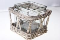 Кашпо плетёное Квадратное с вазой стекло 381201 (13*13*h9*12*12см)