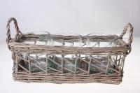 Кашпо плетёное прямоугольное с 3-мя стеклянными стаканами 380501 (26*10*h9*24*9см)
