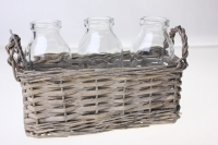 Кашпо плетёное прямоугольное с 3-мя стеклянными вазами 375401 (18,5*7*h7*17*6см)