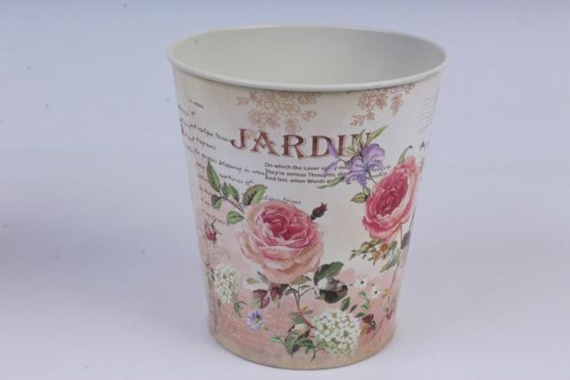 Кашпо Розы (металл) D13хH14см, кремовый/розовый  H14S2208AR
