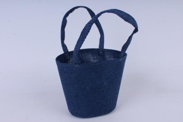 Кашпо -сумка из бумажной сетки  синее