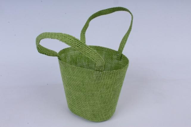 Кашпо -сумка из бумажной сетки зелёное