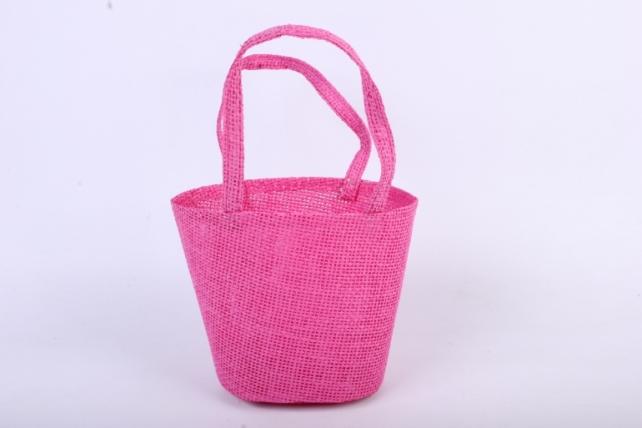 Кашпо -сумка из бумажной сетки  малиновое