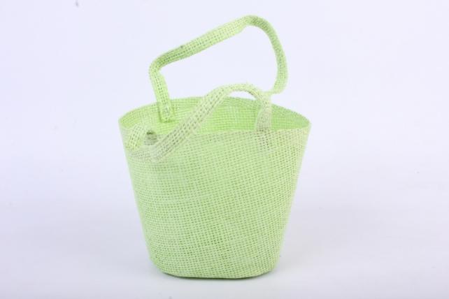 Кашпо -сумка из бумажной сетки  салатовое
