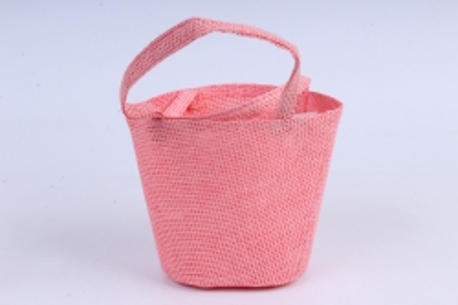 Кашпо -сумка из бумажной сетки  персик