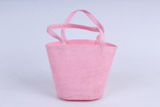 Кашпо -сумка из бумажной сетки светло-розовое