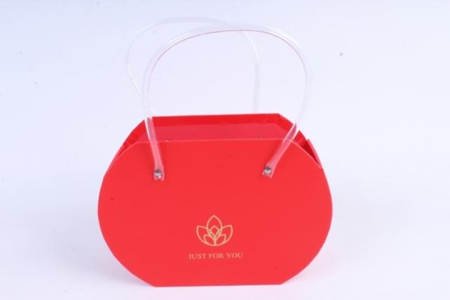 Кашпо Сумка с прозрачными ручками красная