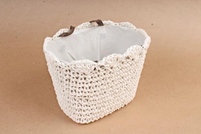 Кашпо сумочка плетеная  Белая  WH13-560A MIX
