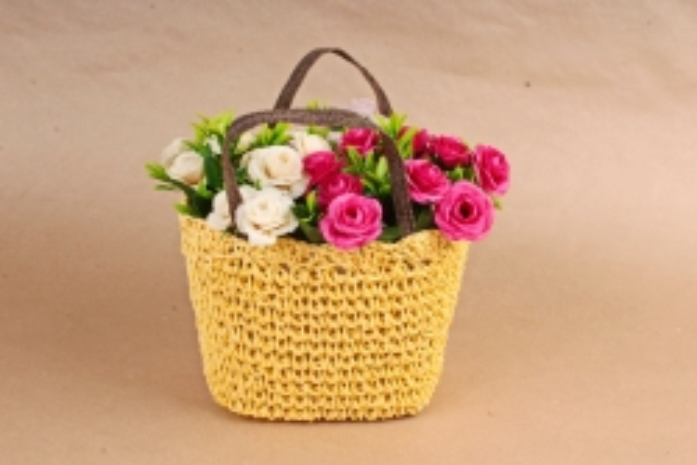 Кашпо сумочка плетеная Желтая  WH13-560A MIX