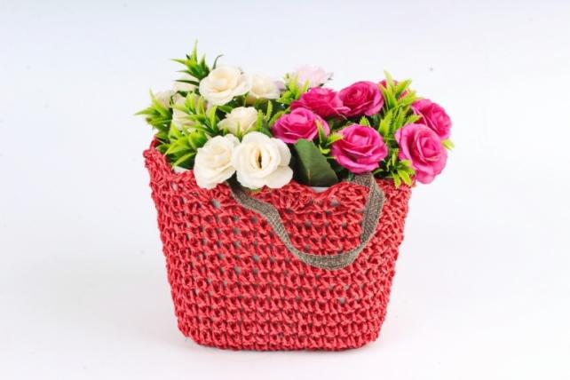Кашпо сумочка плетеная  Красная  WH13-560A MIX