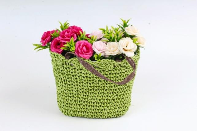 Кашпо сумочка плетеная Оливковая  WH13-560A MIX