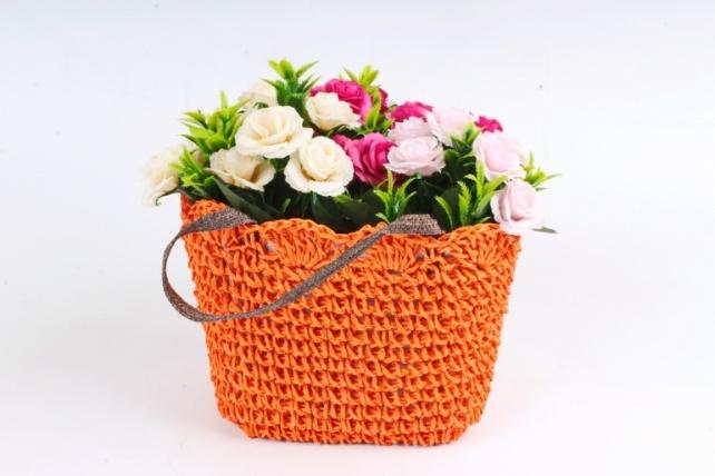 Кашпо сумочка плетеная  Оранжевая  WH13-560A MIX