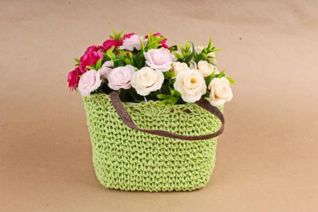 Кашпо сумочка плетеная Салатовая  WH13-560A MIX
