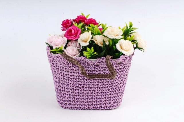 Кашпо сумочка плетеная  Сиреневая  WH13-560A MIX