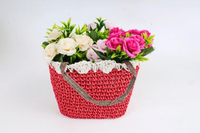 Кашпо сумочка плетеная Красная   WH14-290 MIX