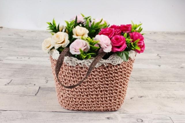 Кашпо сумочка плетеная Кремовая   WH14-290 MIX
