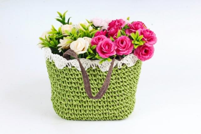 Кашпо сумочка плетеная Оливковая    WH14-290 MIX
