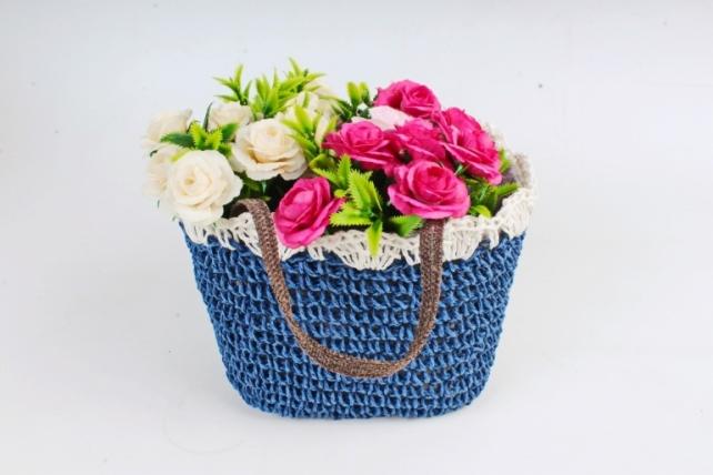 Кашпо сумочка плетеная Синяя   WH14-290 MIX