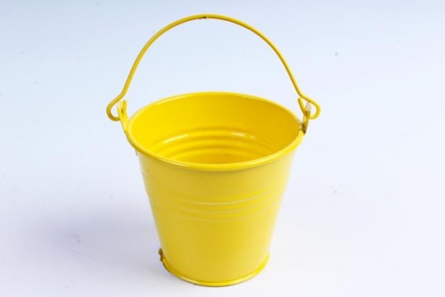 Кашпо Ведерко из металла 8 см лимонное  PY8011