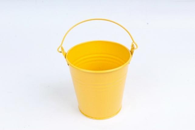 Кашпо Ведерко из металла желтое  PY8012