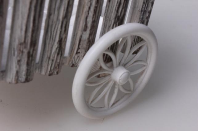 кашпо велосипед дерево белый 34х25х20см 3103