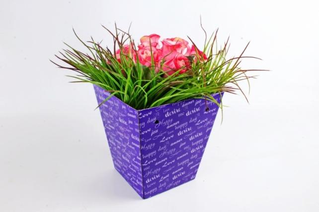 """Кашпо-коробка для цветов трапеция """"Happy day"""" фиолет"""