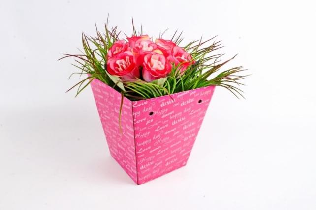 "Кашпо-коробка для цветов трапеция ""Happy day"" розовый"