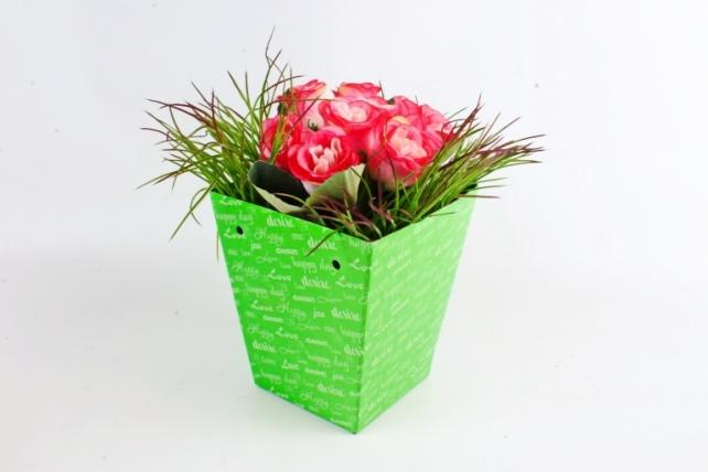 """Кашпо-коробка для цветов трапеция """"Happy day"""" салатовый"""
