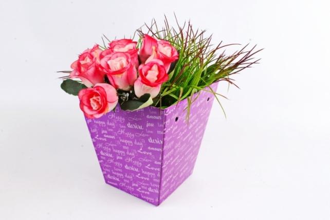 "Кашпо-коробка для цветов трапеция ""Happy day"" сирень"
