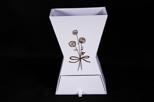 Кашпо-коробка для цветов -Ваза с ящиком белая 28*17*9см