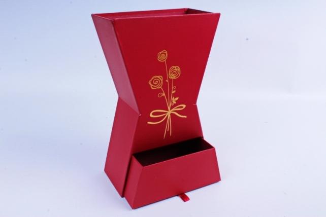 Кашпо-коробка для цветов -Ваза с ящиком красная 28*17*9см