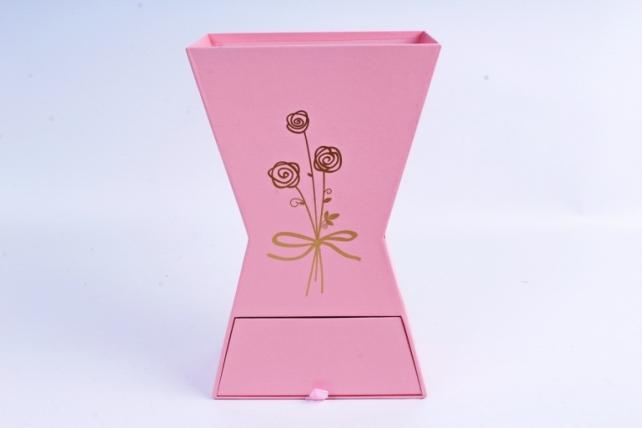 Кашпо-коробка для цветов -Ваза с ящиком розовая 28*17*9см