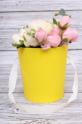 Кашпо-коробка конус лимон d=13.5/h=15см К719