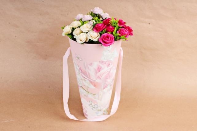 Кашпо-коробка Конус под Цветы Ирис розовый   К801