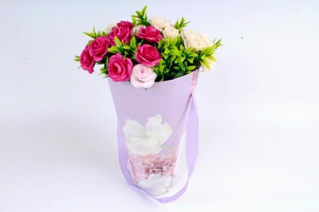 Кашпо-коробка Конус под Цветы Ирис сирень   К801