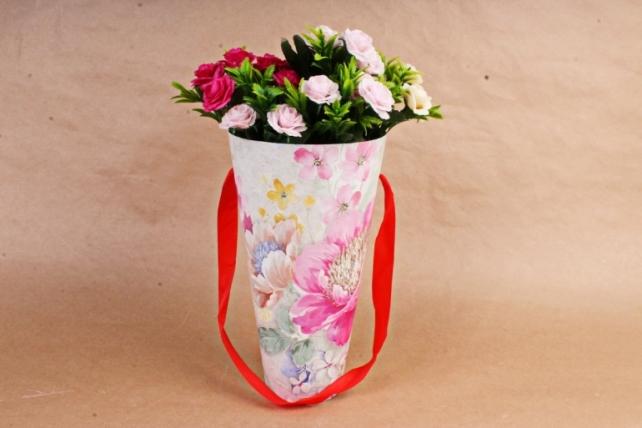 Кашпо-коробка Конус под Цветы Пион розовый   К801
