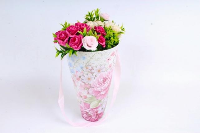Кашпо-коробка Конус под Цветы Пионы К801