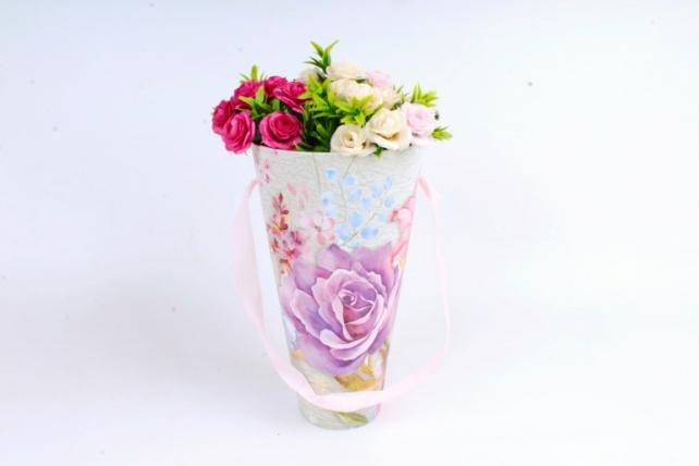 Кашпо-коробка Конус под Цветы Роза фиолетовая  К801