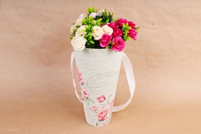 Кашпо-коробка Конус под Цветы Розы на сером   К801