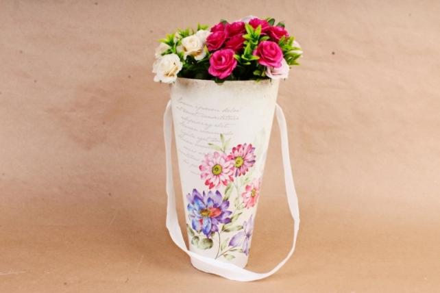 Кашпо-коробка Конус под Цветы с надписью  К801