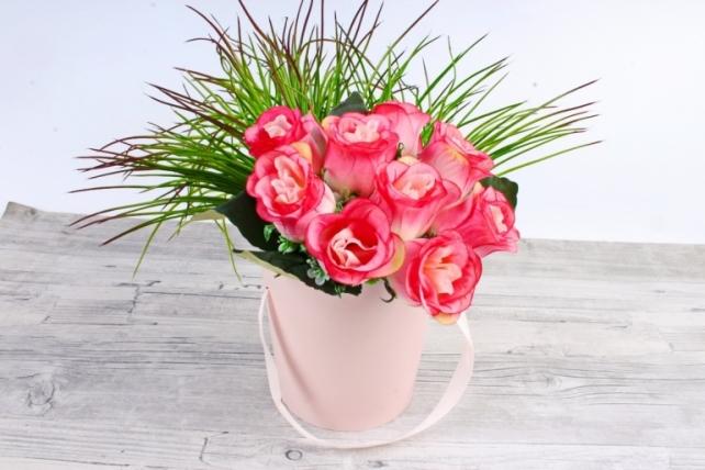 Кашпо-коробка конус розовый   К719
