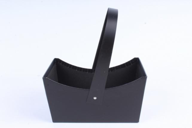 "Кашпо-коробка ""Корзинка с ручкой "" Черная    W9632"
