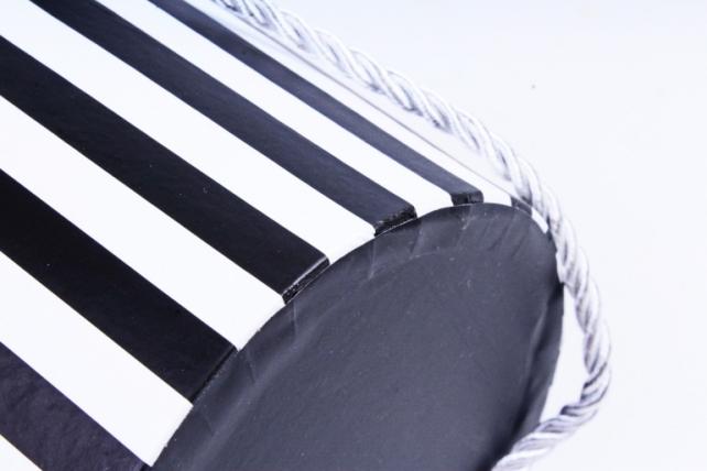 Кашпо-коробка Круглое черно-белая полоска  R19