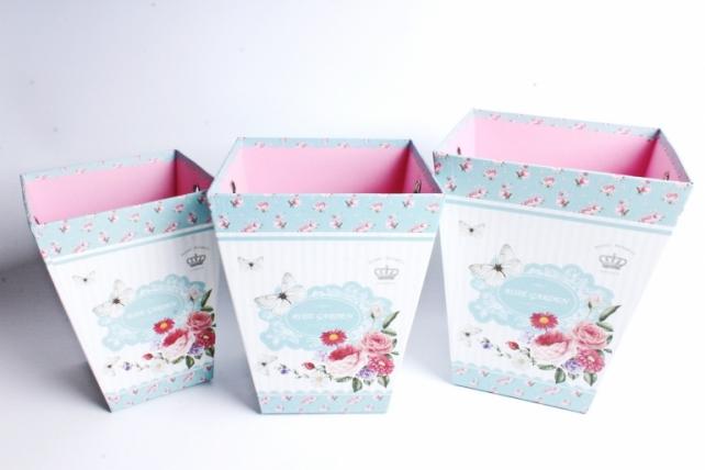 """Кашпо-коробка набор из 3шт-Трапеция """"Цветочный сад"""" 6791"""