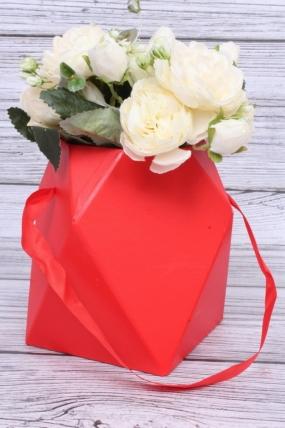 Кашпо-коробка одиночная - Многогранник ваза красная d=12,h=17см  В229