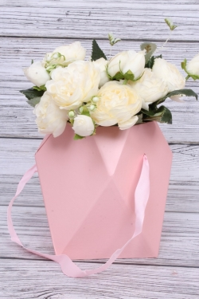 Кашпо-коробка одиночная - Многогранник ваза розовая d=12,h=17см  В229