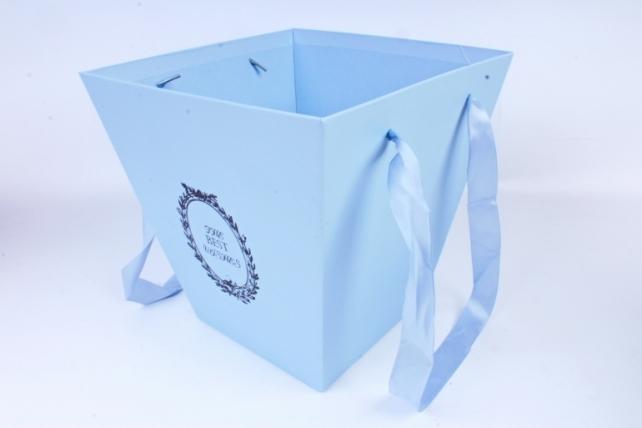 Кашпо-Коробка подарочная с ручками  голубой 6875 (Н)